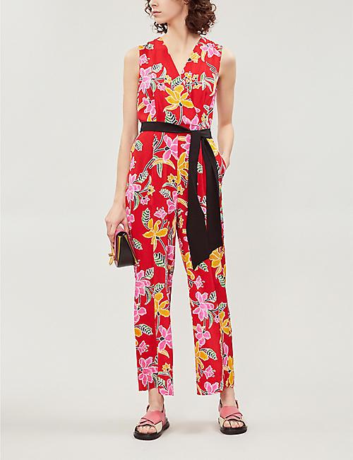 087836887b6 DIANE VON FURSTENBERG Belted floral-print silk-crepe straight-leg jumpsuit