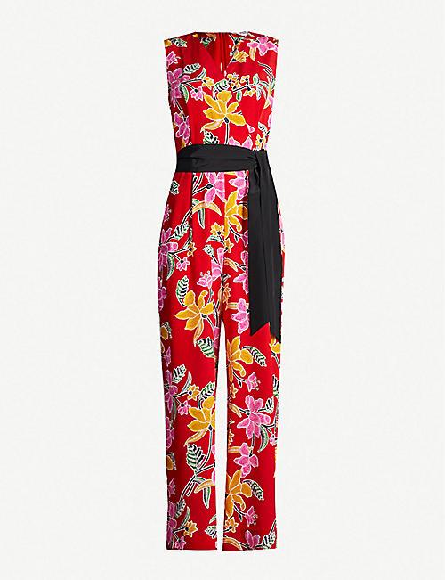 f216239db2 DIANE VON FURSTENBERG Belted floral-print silk-crepe straight-leg jumpsuit
