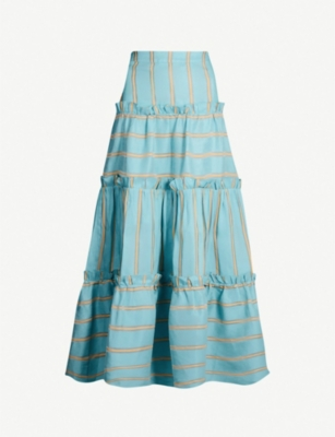 PAPER LONDON Coquillage striped linen-blend skirt