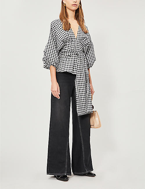 PAPER LONDON Kaia gingham stretch-cotton top