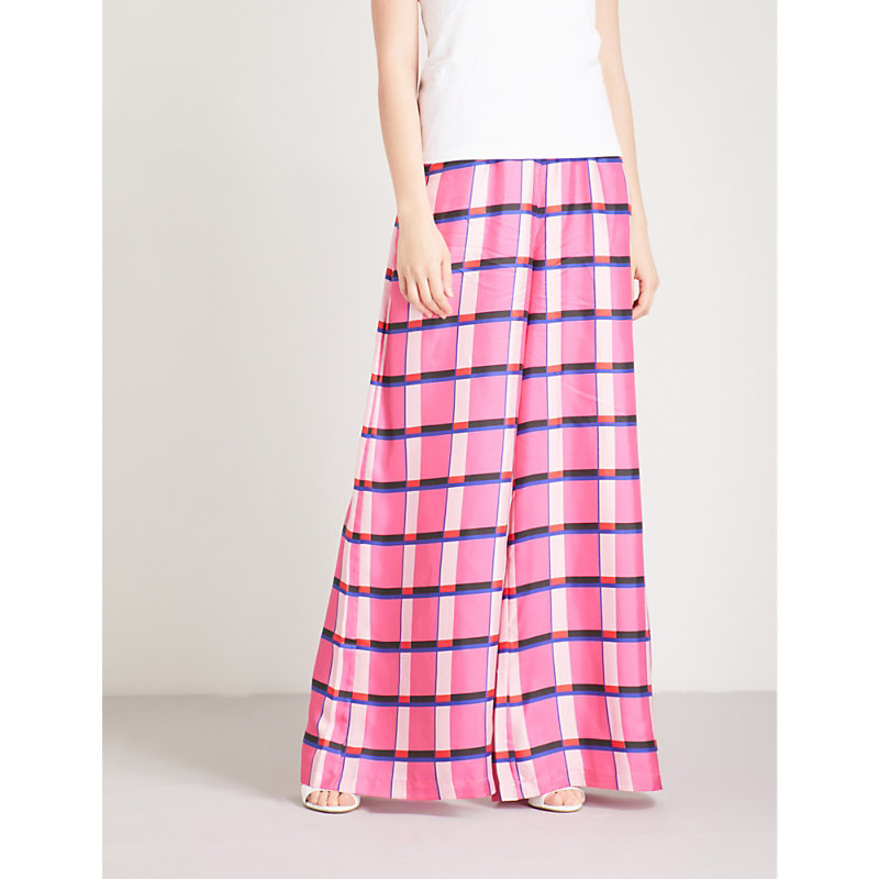 Paper London BOXER CHECKED WIDE-LEG SILK-TWILL TROUSERS