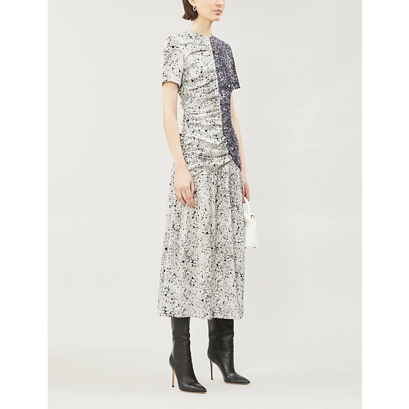 Paper London  MARTIN CONTRAST-PANEL SPECKLED-PRINT SILK-BLEND DRESS