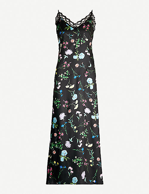 PAPER LONDON Tuberose lace-trimmed floral-print satin maxi dress
