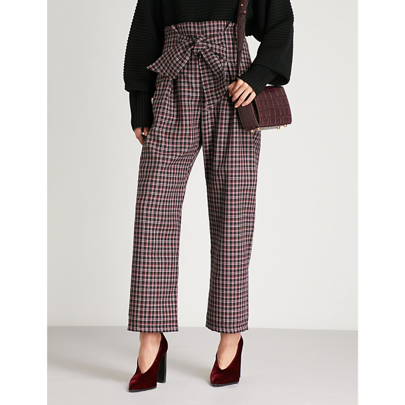 Paper London TWIN CHECK-PRINT WOOL-BLEND TROUSERS