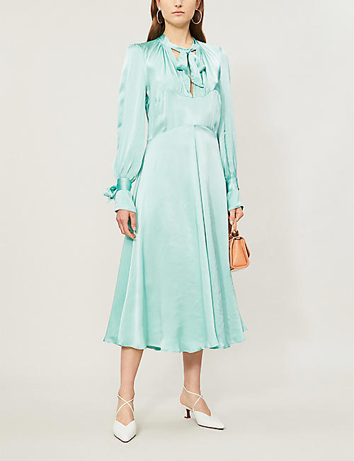 GHOST Cecila tied-neck satin flared midi dress