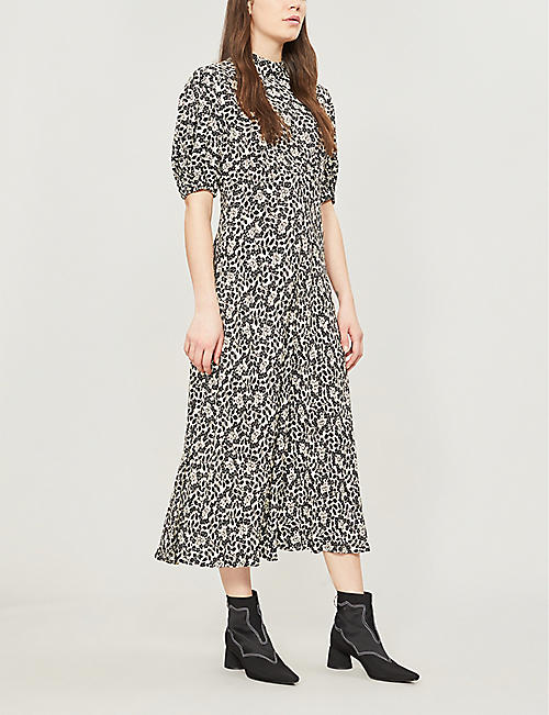 GHOST Luella floral-print flared crepe dress