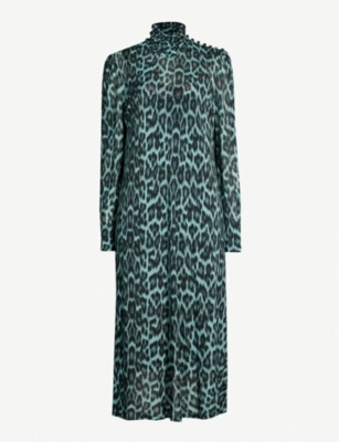 GHOST Nadia ruched-neck leopard-print stretch-jersey dress