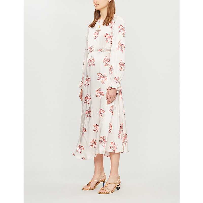 GHOST | Mascha Floral-Print Long-Sleeved Satin Dress | Goxip