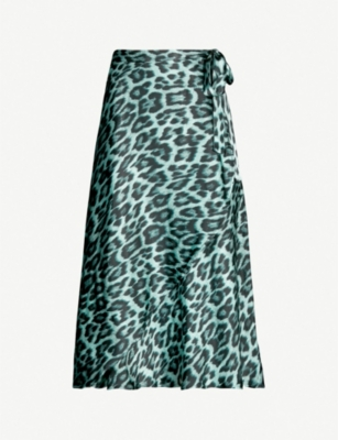 GHOST Jayne leopard-print satin wrap skirt