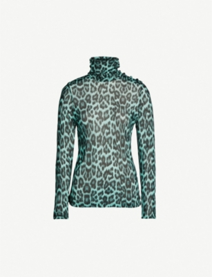 GHOST Leopard-print stretch-jersey top