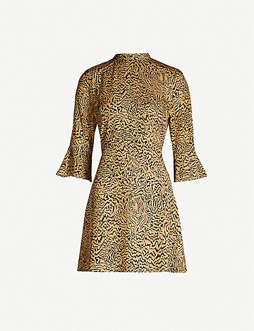 HVN Ashley flared-cuff animal-print silk mini dress
