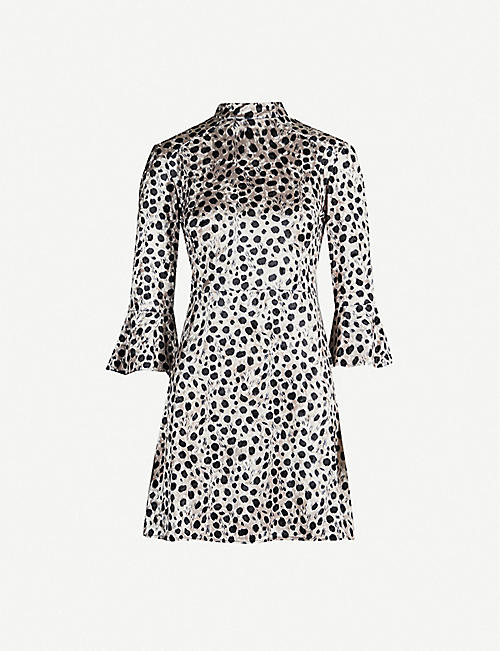 HVN Ashley flared-cuff animal-print velvet mini dress