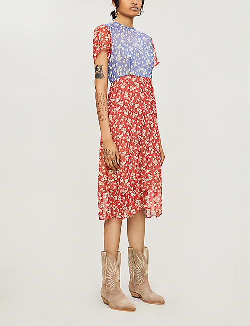 HVN Lindy floral-print silk-chiffon midi dress