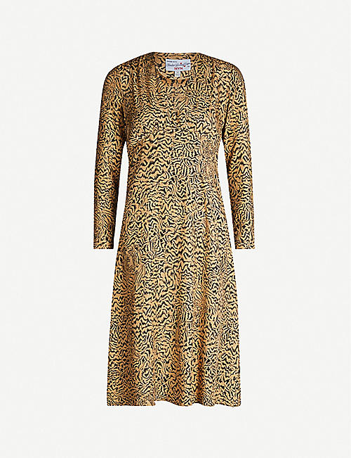 HVN Hoover tiger-print silk midi dress