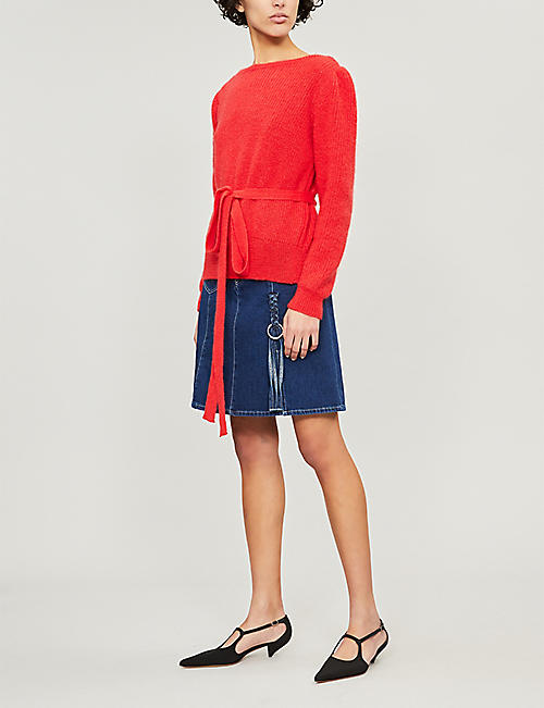 ALEXACHUNG Boat-neck wrapped wool-knit jumper