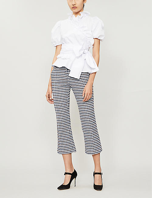 ALEXACHUNG Ruffled-neck cotton-poplin wrap top