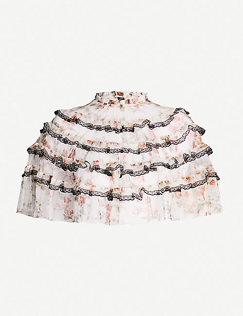 NEEDLE AND THREAD Lace-trimmed tiered tulle cape