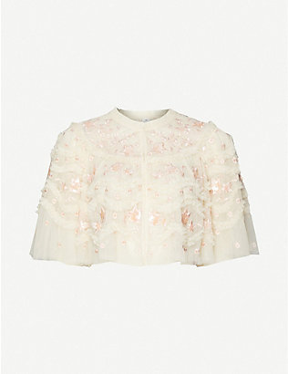 NEEDLE AND THREAD: Tulle Bloom frilled embroidered shawl jacket