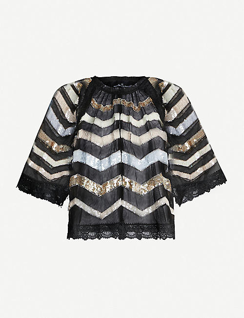 NEEDLE AND THREAD Alaska striped sequinned top