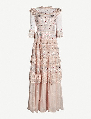 NEEDLE AND THREAD Eden floral-embroidered tulle gown