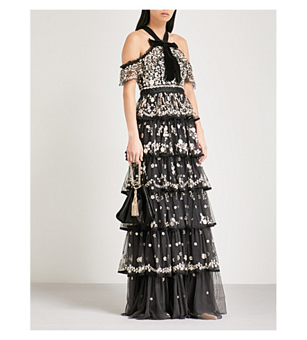 Zelda Embroidered Tulle Gown, Graphite