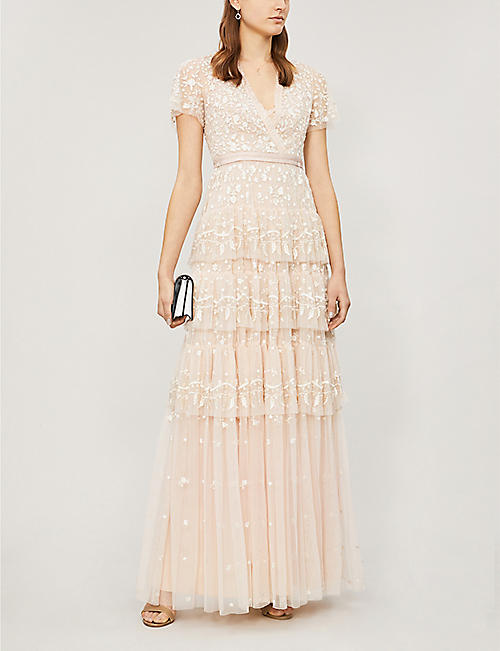 3630772b3 NEEDLE AND THREAD Angelica floral-embroidered short-sleeved tulle dress