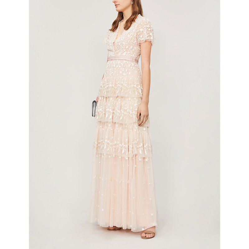 NEEDLE & THREAD | Angelica Floral-Embroidered Short-Sleeved Tulle Dress | Goxip