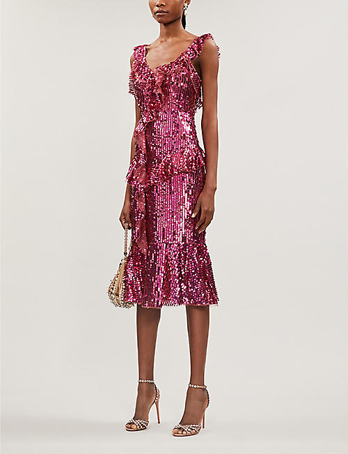 NEEDLE AND THREAD Scarlett frilled V-neck sequinned midi dress