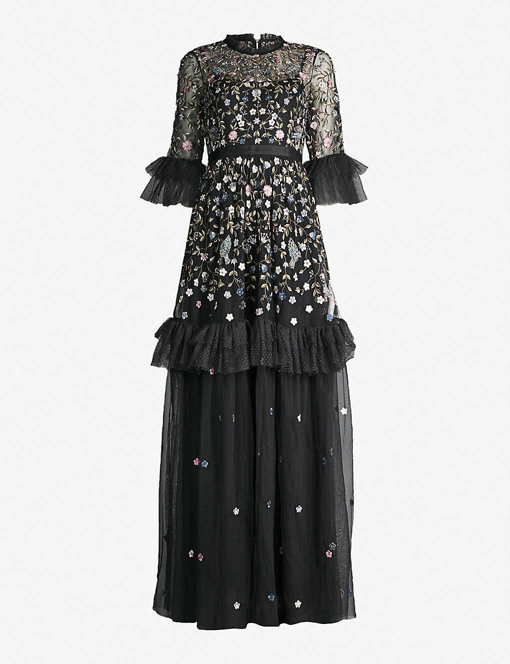 1a5ed85f4324 NEEDLE AND THREAD - Dusk floral-embroidered tulle gown | Selfridges.com