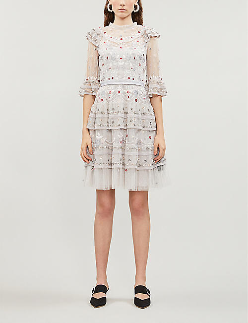 NEEDLE AND THREAD Eden floral-embroidered mesh mini dress