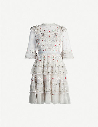 NEEDLE AND THREAD: Eden floral-embroidered mesh mini dress