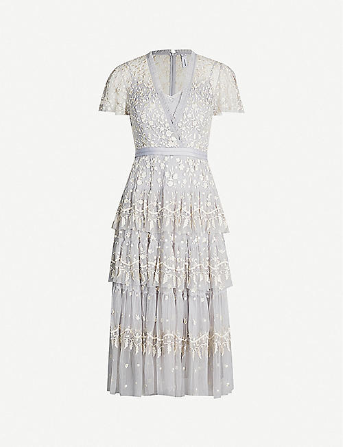 NEEDLE AND THREAD Angelica floral-embroidered short-sleeved tulle dress