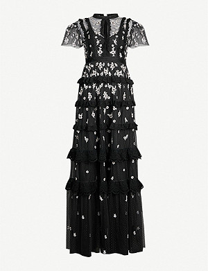 NEEDLE AND THREAD Ditsy floral-embroidered short-sleeved tulle gown
