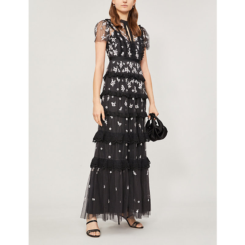 NEEDLE & THREAD | Ditsy Floral-Embroidered Short-Sleeved Tulle Gown | Goxip