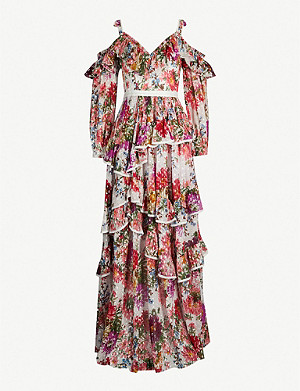 NEEDLE AND THREAD Shimmer floral-print metallic fil-coupé gown