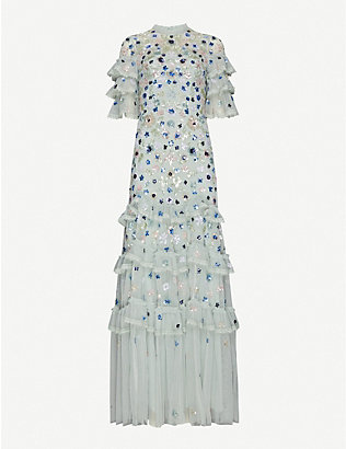 NEEDLE AND THREAD: Meadow floral sequin and tulle gown