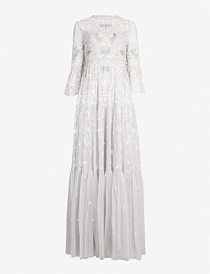 NEEDLE AND THREAD Dragonfly Garden beaded cropped sleeve tulle maxi dress