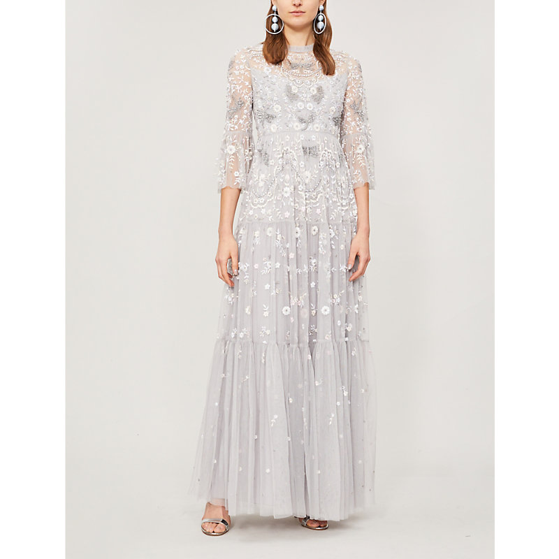 NEEDLE & THREAD | Dragonfly Garden Beaded Cropped Sleeve Tulle Maxi Dress | Goxip