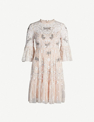 NEEDLE AND THREAD Dragonfly Garden beaded short-sleeved tulle midi dress