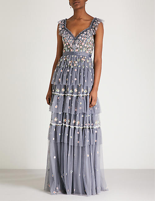 NEEDLE AND THREAD Whimsical embroidered chiffon gown