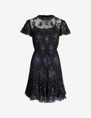 NEEDLE AND THREAD Ashley floral-embroidered chiffon mini dress