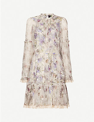 NEEDLE AND THREAD: Lilacs Ditsy floral-print tulle mini dress