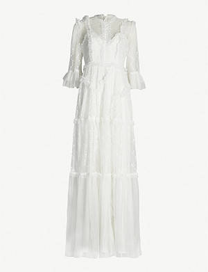 NEEDLE AND THREAD Decon floral-embroidered tulle gown