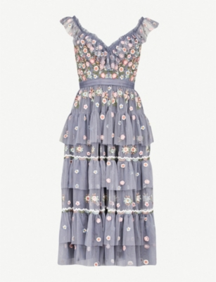 NEEDLE AND THREAD Whimsical embroidered chiffon dress