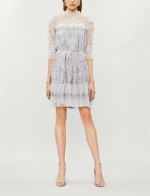 Needle & Thread LACE ILLUSION EMBROIDERED TULLE MINI DRESS
