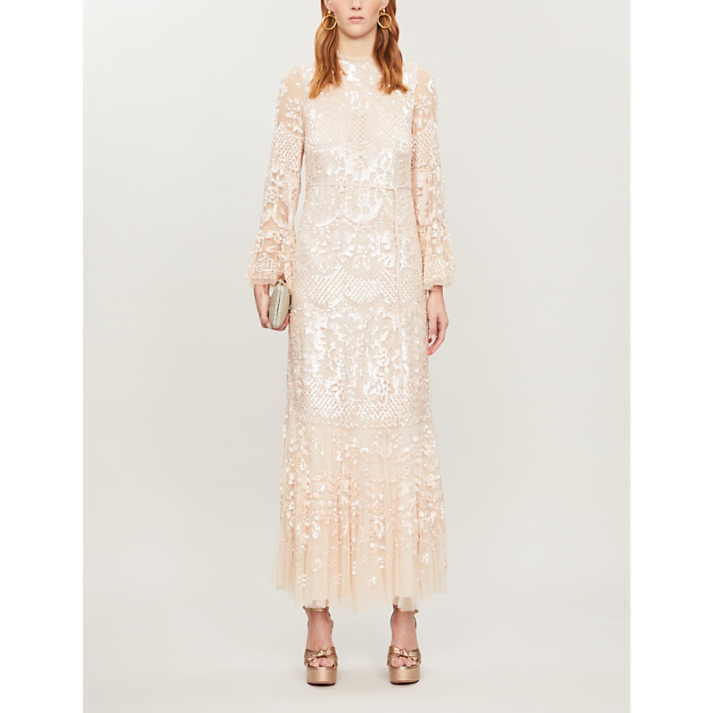 Needle & Thread Dresses SNOWDROP SEQUIN-EMBELLISHED TULLE MAXI DRESS