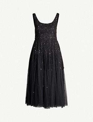 NEEDLE AND THREAD Snowflake sequin-embellished tulle midi dress