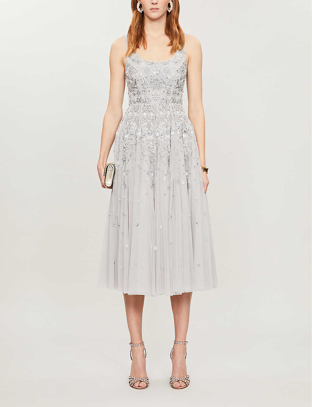 NEEDLE AND THREAD: Snowflake sequin-embellished tulle midi dress