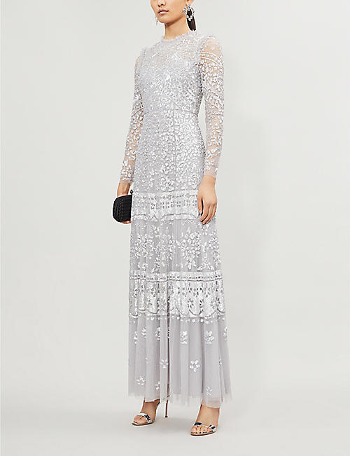 NEEDLE AND THREAD Aurora sequin-embroidered long-sleeved tulle maxi dress