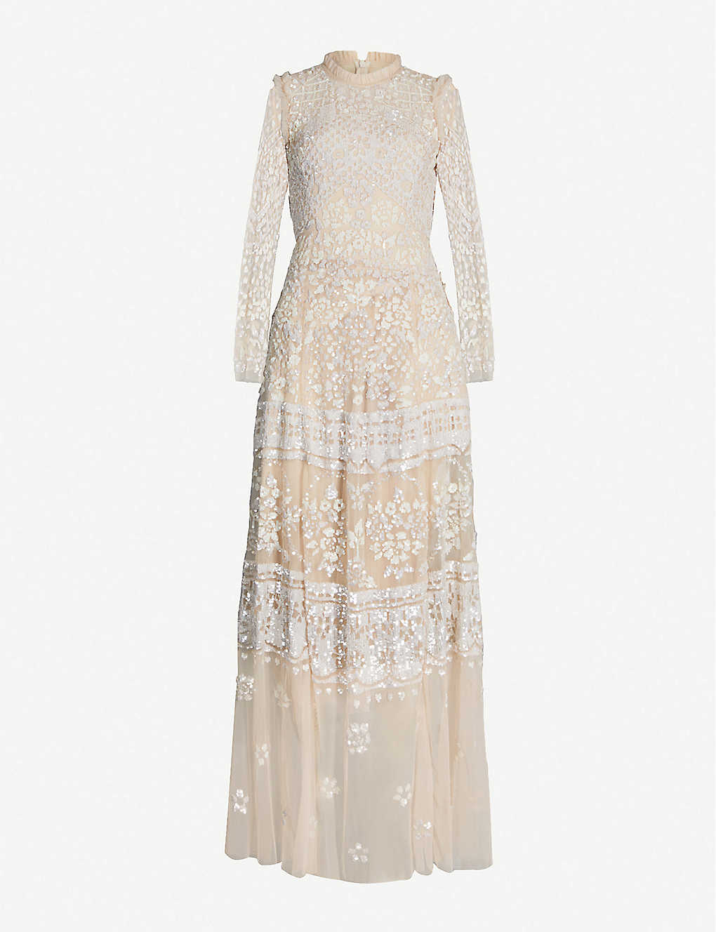 5a425f716023 Aurora sequin-embroidered long-sleeved tulle maxi dress - Vintage blossom  ...